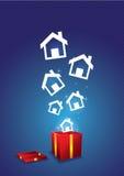 浮动从礼物盒的之家 图库摄影