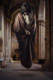 浮动在一个哥特式大教堂里面的魔术师 库存图片
