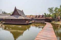 浮动市场在古城公园, Muang Boran,萨穆特Prakan省,泰国 库存照片