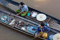 浮动市场,缅甸 库存图片