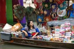 浮动市场, Damnoen Saduak,泰国 图库摄影