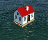 浮动房子木木筏的水 免版税库存图片