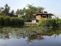 浮动房子, Khlong,曼谷 库存照片