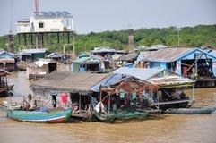 浮动村庄柬埔寨 图库摄影