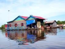 浮动村庄,洞里萨湖,柬埔寨,暹粒 库存图片