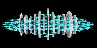浮动现代齿轮机构3D翻译 库存照片