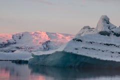 浮动的冰川冰山jokulsarlon盐水湖 库存照片