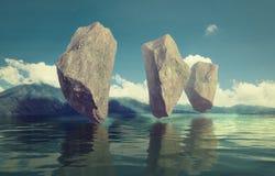 浮动的岩石 库存图片