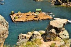 浮动Uros海岛的喀喀湖,玻利维亚/秘鲁 免版税库存照片