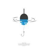 浮游物、钓丝和勾子 库存例证
