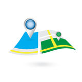 浮游物与导航员地点别针的飞行地图 免版税库存图片