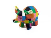 浴五颜六色的大象玩具 免版税库存照片