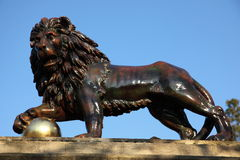 浴狮子雕象 免版税图库摄影
