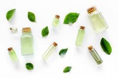 浴的绿色有机盐用在白色背景顶视图的薄菏 库存图片