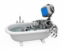 浴蓝色机器人屏幕 向量例证