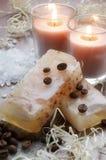 浴豆对光检查咖啡现有量做的盐肥皂 免版税库存图片