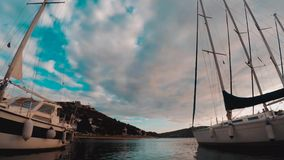 海、小船和海岛Timelapse  Tisno,克罗地亚 影视素材