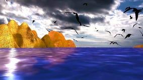 05海、海岸和飞行的海鸟风景  向量例证