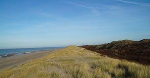 海、海滩和沙丘在荷兰风景 免版税图库摄影