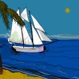海、风船和海滩正面图的例证与沙子,棕榈,太阳 向量例证
