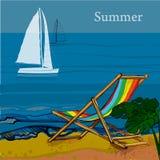 海、风船和海滩正面图的例证与沙子,棕榈,轻便折叠躺椅 皇族释放例证