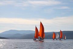海上乘快艇反对山的背景 库存照片