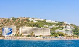 海上的假期 Lindos 希腊 免版税库存图片