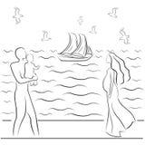 海上的家庭 免版税库存图片