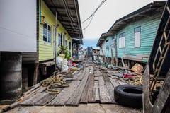 海上的木房子 免版税图库摄影