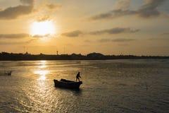 海上的渔夫 库存照片
