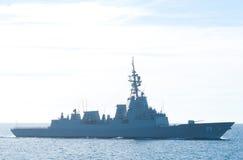 海上的澳大利亚海军军舰 库存图片