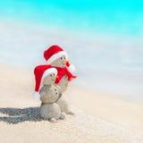 海上的雪人朋友在圣诞节帽子靠岸 免版税库存照片