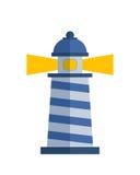 海上航行教导光传染媒介例证的动画片平的灯塔探照灯塔 库存照片