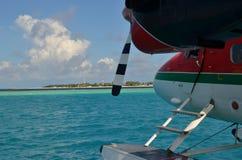 海上飞机服务在马尔代夫 免版税库存照片
