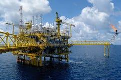 海上钻机在暹罗湾 免版税库存图片