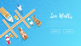 海与乘快艇的游览广告的步行横幅 游艇和小船旅行 使假期靠岸 向量例证