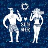 海与男人和妇女的动画片例证在度假 库存照片