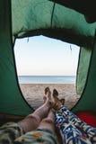 以海为目的帐篷 免版税库存图片