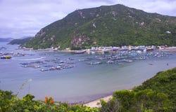 海产养殖木筏在香港 库存照片
