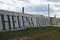 海伦娜港口在海伦娜堤坝步行的壁画,海伦娜阿肯色 免版税图库摄影