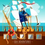 海冒险动画片例证 库存照片