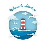 海冒险样式纸艺术的明信片欢迎 免版税图库摄影