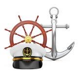 海军军官, Hat上尉海军上将,在古色古香的Vinta附近的军舰 向量例证