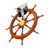 海军军官, Hat上尉海军上将,在船指点的军舰 图库摄影