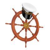 海军军官, Hat上尉海军上将,在船指点的军舰 免版税库存照片
