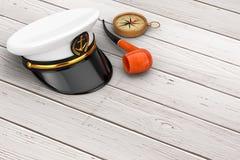 海军军官, Hat上尉海军上将,有葡萄酒的Smoki军舰 库存图片