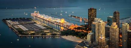 海军码头在晚上 免版税库存照片