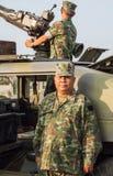 海军陆战队员和坦克在皇家泰国海军,海军基地,春武里市,泰国军事游行  免版税图库摄影