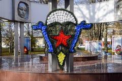 海军陆战队员象征冠  纪念碑和名字上在eter 库存照片