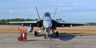海军F-18大黄蜂喷气式歼击机 免版税库存照片